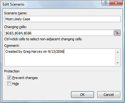 Create a scenario in the Edit Scenario dialog box.