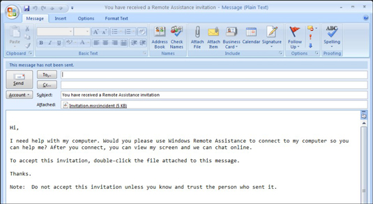 The default e-mail invitation generated by Windows Remote Assistance