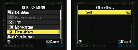 The Soft filter is found on the last page of the Filter Effects menu.