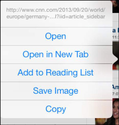 Use this menu to save an image to your iPad.