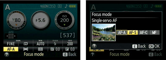 You can access all four Focus mode settings only in the P, S, A, and M exposure modes.