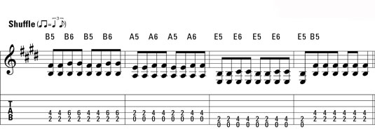 A four-bar blues intro.
