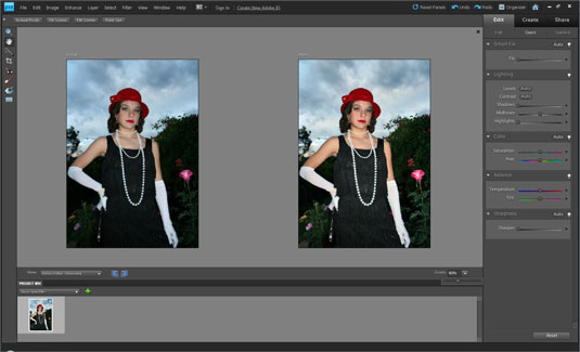 Edit Quick mode enables you to view before-and-after previews of your image.