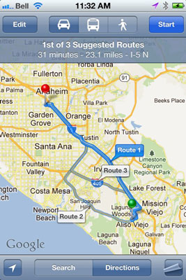 Siri opens Maps and show you the standard view to your destination.