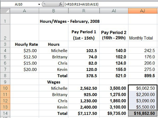 Hourly wage spreadsheet after entering all three array formulas.