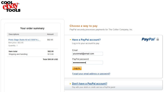 A single-page checkout enables a customer to pay using PayPal.