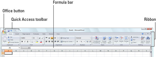 Find the Office button in the upper-left corner of the Excel 2007 window.