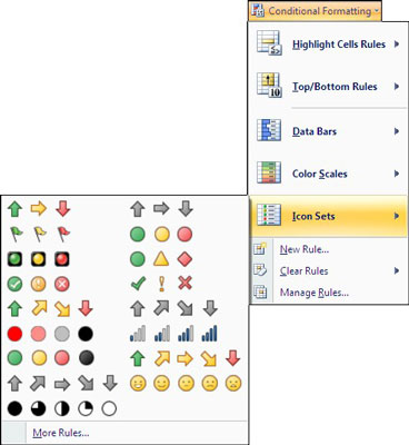 Select the icon set you want to use to represent your data.
