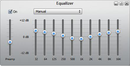 Use the equalizer to adjust the volume of individual frequencies.