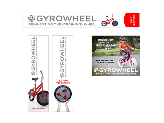 Examples of the banner ads used in the online ad campaign for Gyrobike. [Credit: Courtesy of Gyrobi
