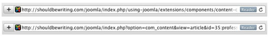 A URL with (top) and without (bottom) SEO enabled.
