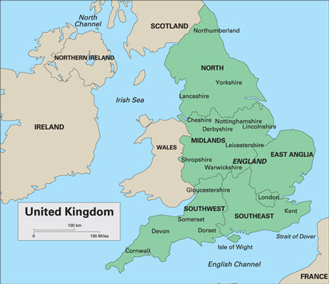 Key cheesemaking regions in the United Kingdom.