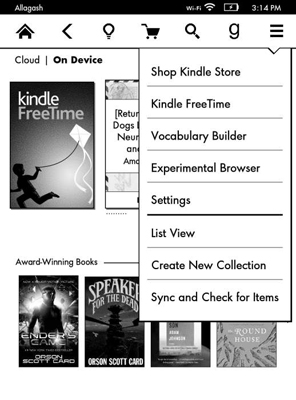 Kindle Free Time appears as a menu choice.