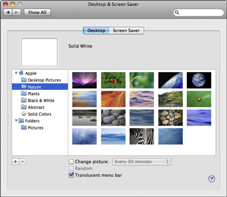 Select a background from System Preferences.