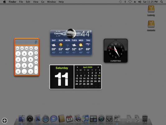 To add or delete widgets from the Dashboard, click the Add button in the lower-left corner.
