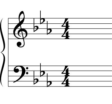 A key signature in E flat.