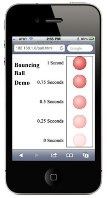 The bouncing ball with portions of seconds demarked.