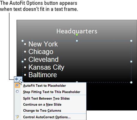 AutoFit options.