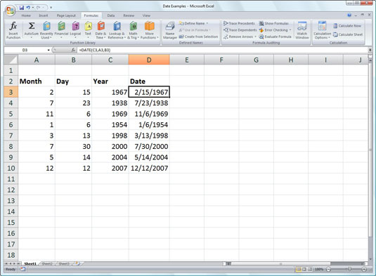 Using the DATE function to combine separate date information into a single entry.