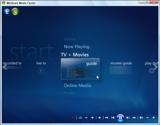 Windows Media Center lets you watch and record shows, play your music, and view your videos.