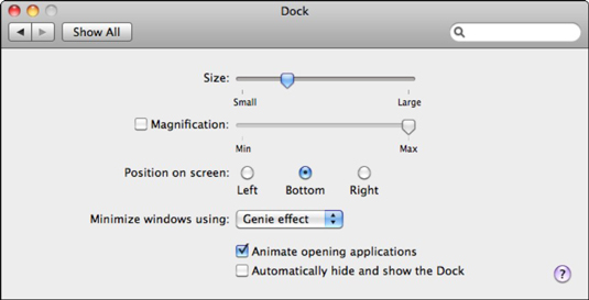 Set your Dock preferences.