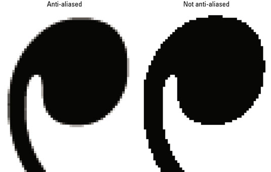 Anti-aliasing softens the edges of your type.