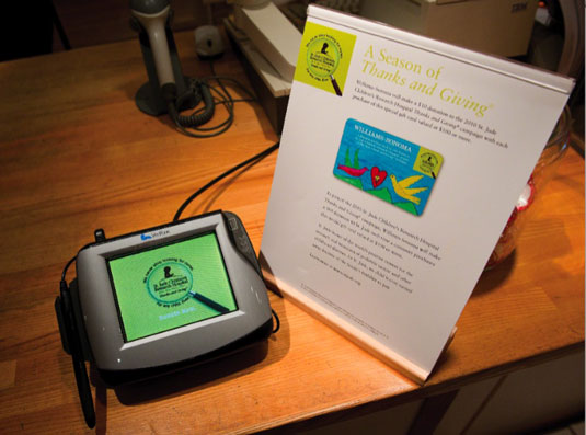 This credit card display allows shoppers at Williams-Sonoma stores to donate to St. Jude Children&#