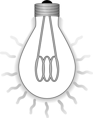 An incandescent light bulb radiates heat into its environment.