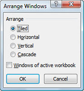 Select the desired Arrange setting in the Arrange Windows dialog box.