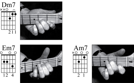 The open-position minor 7th chords are Dm7, Em7, and Am7. Take a look at the