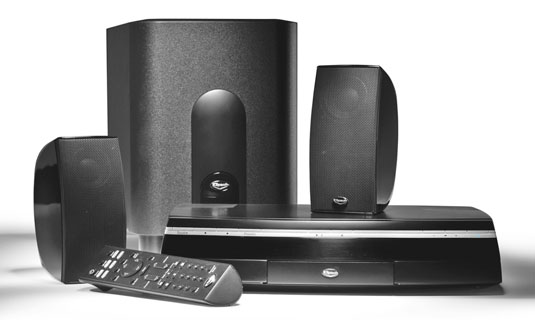 Install virtual surround sound, like this Klipsch CS-500 system, if you're short on space.