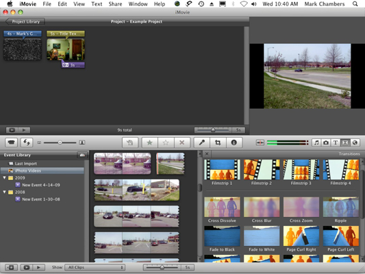Add transitions between clips in iMovie.