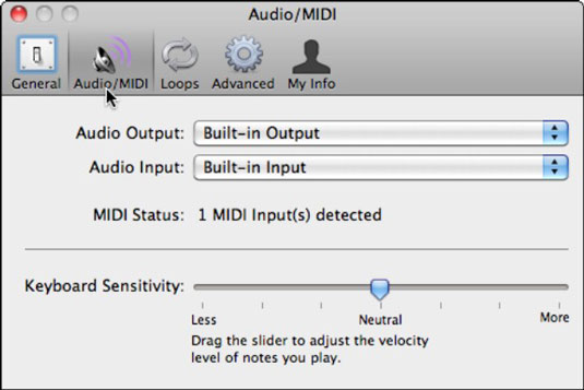 The Audio/MIDI pane detects the MIDI keyboard and lets you assign sound input and output.