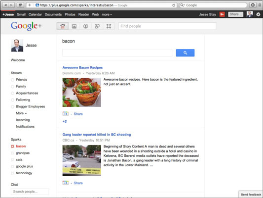 Your list of sparks appears in the left column of Google+.