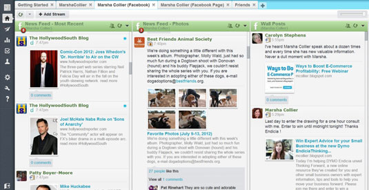 Monitoring a Facebook account on HootSuite.