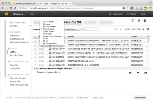 The EC2 Amazon Machine Image panel.