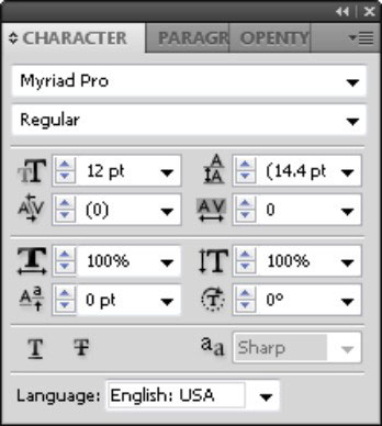 The Character panel shows additional options.