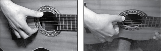 The rest stroke. Notice that, after striking a string, the right-hand finger rests against the next