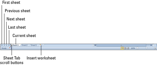 Use the Sheet Tab scroll buttons and the sheet tabs to move between worksheets.