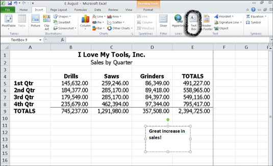 Use a text box in Excel 2010 to annotate data in a chart or worksheet.
