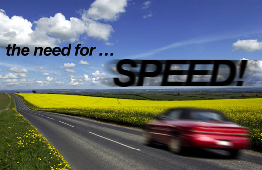 Applying a motion blur to type can make it appear as fast as the car. [Credit: Corbis Digital Stock]