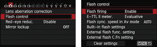 Set this option to Enable for normal flash firing in the advanced exposure modes.