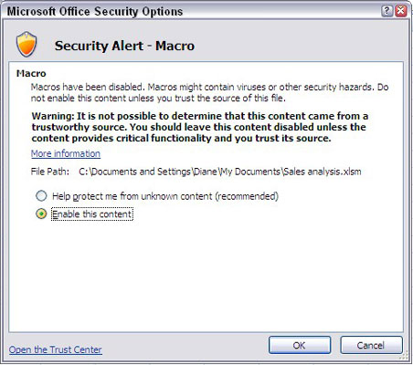 The Microsoft Office Security Options dialog box.