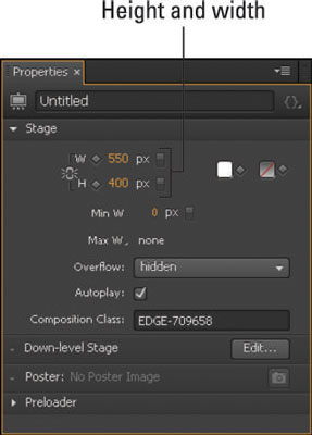 Adjust the height and width of the Stage to see how that affects elements.