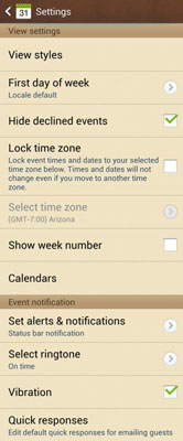 The Settings options for the calendar application.