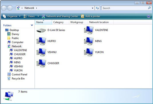 Computers sharing the same local network in Windows Vista.