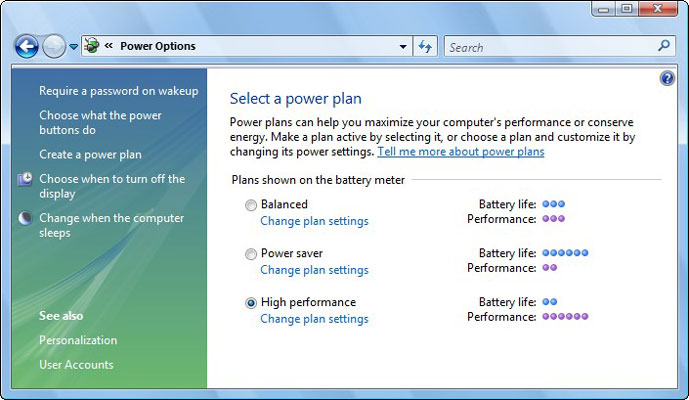 Use the Power Options window for power management.