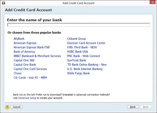 This Add Account dialog box asks for your financial institution.
