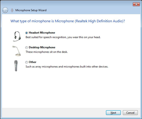 The Microphone Setup Wizard.