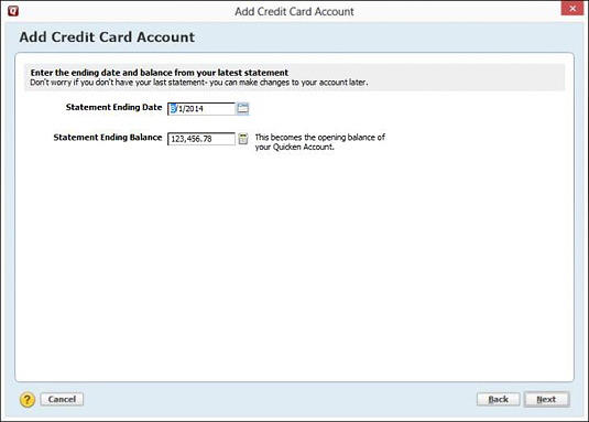 This dialog box lets you provide the account balance on a specific date.
